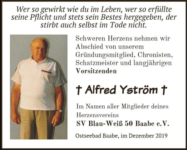 Annonce zum Tod des Ehrenvorsitzenden Alfred Yström