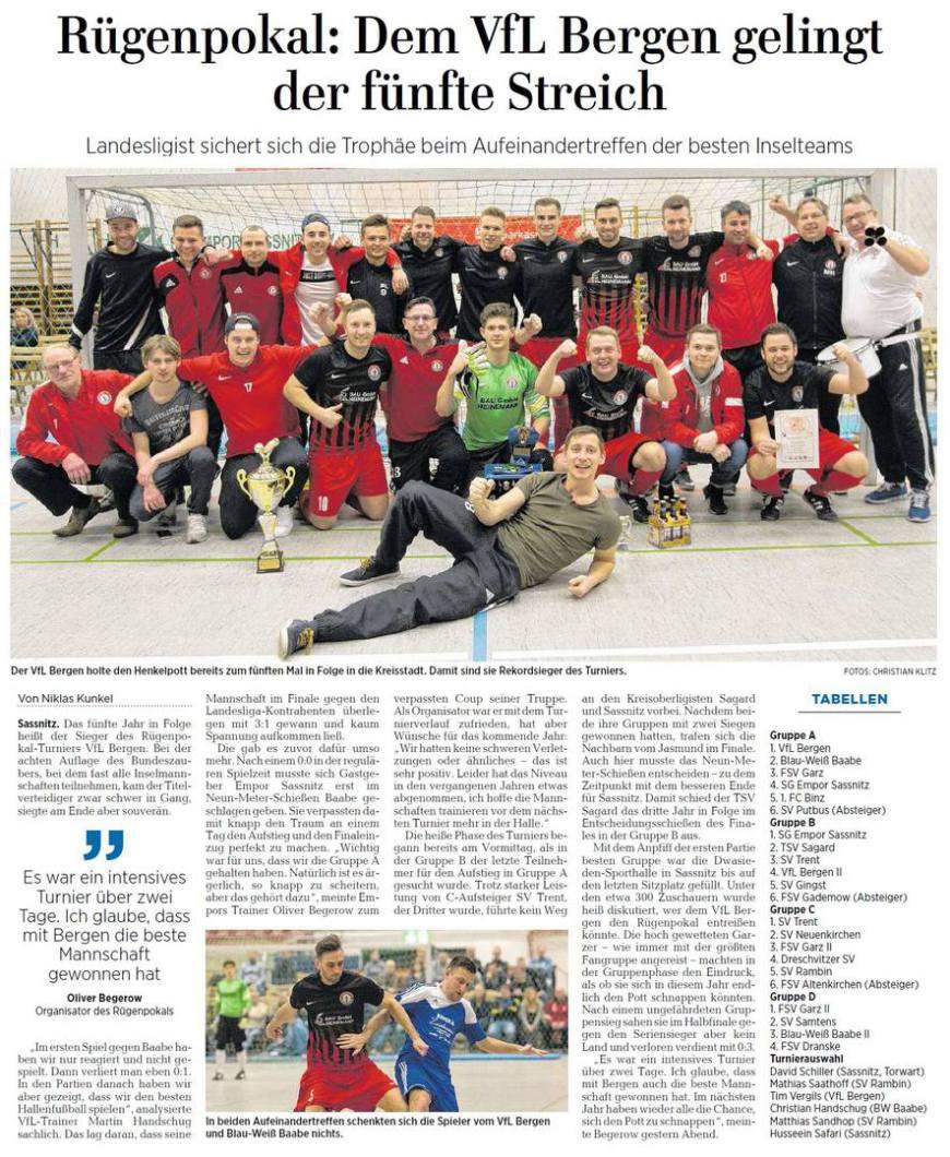 OZ-Bericht über Rügenpokal 2018